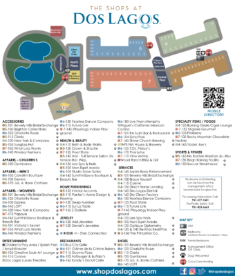 Directory Map – The Shops at Dos Lagos 2018
